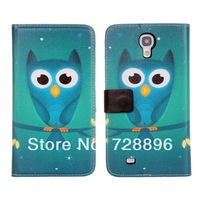 For Samsung Galaxy Mega 6.3 I9200 painted leather wallet phones turn green owl protective shell around Free Shipping-SX118