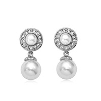 Easy Girl Fashion Jewelry Accessories Pearl Drop Earrings High Quality White Gold Party 2014