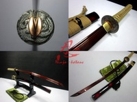 battle ready japanese red katana phenix tsuba tempered 9260 spring steel sword