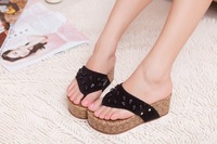 2014 summer new soled rubber sole bright rivets slope with sandals women sandals  jx9