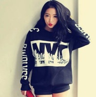 2014 fashion women  casual hoodie personality  letter sweatshirt  loose  black plus size