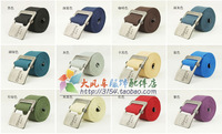 Free Drop Shipping Basic glossy alloy knitted canvas belt mens canvas belts belt lovers design multi-color ultra long sports