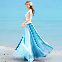 928 expansion bottom female bust skirt chiffon Beach party double colorant match half-length full dress bohemia full dress