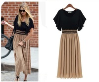 Fashion knitted patchwork chiffon plus size clothing short-sleeve slim waist one-piece dress 9902