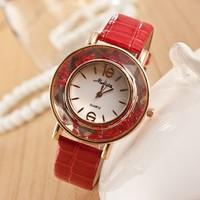 Free Shipping 2014 New Design Stylish Rhinestone  Leather Belt Watch Unisex Brand Wristwatches For Fashion