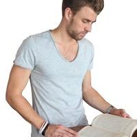 Men's short sleeve T-shirt pure color v-neck top modal Men's wear 4XL new spring summer 2014 class basic tee one piece retail