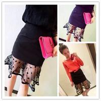 918 three-dimensional space polka dot gauze fish tail ruffle hem patchwork skirt bust female