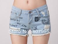 Free Shipping Fashion Korean version hot hole Embroidery alphabet Washed Womens denim shorts