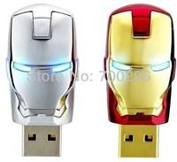 Free shipping Iron Man USB flash drive memory stick Ironman pen drive 8G 16G 32G 64G 128GB external storage with LED light