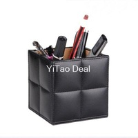 Free Shipping Black PU Leather Brush Pot Square Desktop Pencil Pen Holder Pot Holder Pen Container - Gift for Father or Children