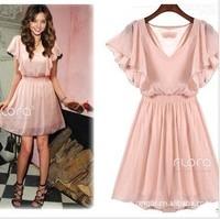Free Shipping Korean  2014 summer hot fashion lady lotus sleeve chiffon dress ,Women's Elegant Dresses 3 Colors