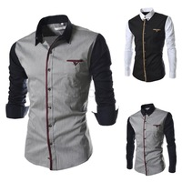 Free Shipping Fashion  new design men's casual sleeve stitching long-sleeved shirt US Size:XS,S,M,L  9600