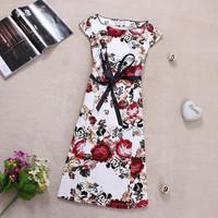 [R&V]2014summer women dress office lady plus size outfit vintage elegant slim lacing cross stitch print short-sleeve dressRS6265