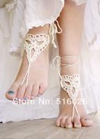 Crochet barefoot sandals, Ivory beach wedding sandals, Bridesmaids Gifts, Bridal, Bridesmaids, Summer, Beach, Shower Favors