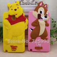 3D Chip Winnie Bear Soft Silicone Case Cover For Samsung Galaxy Note III 3 N9000 Cartoon
