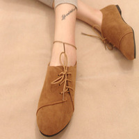 2014 New Retro Nubuck leather  women flats shoes  spring and Autumn temperament women's shoes