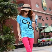 coco channel Fashion women's 2014 coco print medium-long cotton short-sleeve 100% T-shirt female cute t-shirt