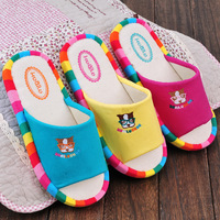 High quality linen slippers spring and autumn at home slippers cartoon puppy slip-resistant slippers indoor cow muscle outsole