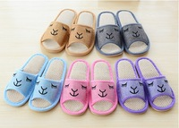 Opening smiley linen sandals fluid at home slippers puffballs spring autumn floor,flat,leisure,free shipping