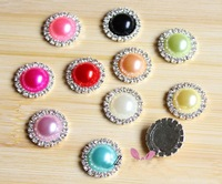 200pcs/lot, High Quality Fashion Imitation Pearl Rhinestone Metal Alloy Wedding Flatback Craft Buttons, Wholesale Free Shipping