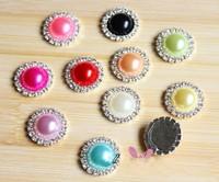 200pcs/lot, High Quality Fashion Imitation Pearl Rhinestone Metal Alloy Wedding Flatback Craft Buttons, Wholesale Free Shipping