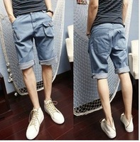 Free Shipping Denim shorts male summer denim breeched loose blue casual Jeans Pants