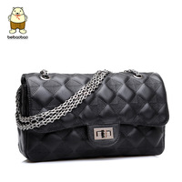 women's handbag black shoulder bag small cross-body bag plaid chain ladies casual shoulder bag