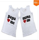 Baby clothesT-shirt, i love papa mama daddy baby shirt/T-Shirt boy & girl without Sleeve sleeve Shirt,Infants&Toddlers T shirt(China (Mainland))