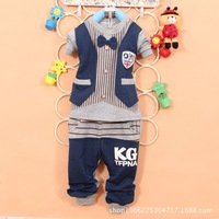 new 2014 wholesale 4sets/lot Spring models of child 100% cotton two-piece suit striped bow Kids boys grils sets free shipping