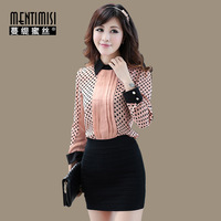 Autumn new arrival 2013 plus size slim turn-down collar long-sleeve polka dot chiffon shirt formal shirt ms-6056  Fashion sweet