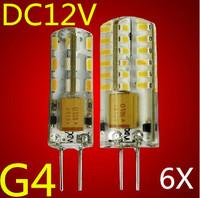 6pcs/lot G4 DC/12V 3W 6W LED Crystal Lamp Corn Bulb Droplight Chandelier SMD3014 Spot Light Cool/Warm White white