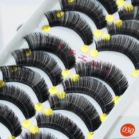 Newlook free shipping Handmade new Taiwan 030 10pairs/box natural cotton stems false eyelashes thick human hair strap Lashes