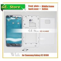 WHITE Original Replacement Full Housing For Samsung Galaxy S2 i9100 Repair Parts Front Housing+Middle Frame +Back Cover+Buttons