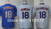 New York #18 Darryl Strawberry Men's Authentic Throwback 1983 Road Blue 1986 Home White 1987 Road Grey Baseball Jersey