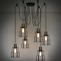 Edison bulb chandelier creative restaurant minimalist living room bedroom chandelier wrought iron chandelier copper diffusing