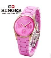 Swiss brand Binger female lover Watch six needle stopwatch safe sapphire window dial watches wine red case couple wristwatch
