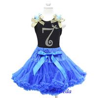 Royal Blue Pettiskirt Anna Princess Black Tank Top 7th - 8th Birthday Party Dress