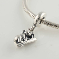 100% 925 Sterling Silver Animal Koala Screw Charm Bead Fits For European Style Woman Bracelets & Bangles Necklaces LW117