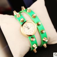 2014 Limited Quartz Women Acrylic Women Watches New Arrival Candy Color Diamond Rivet Watch Punk Women's Cowhide Ring 6853