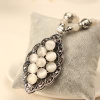kpop fashion luxury Vintage imitate thai silver diamond jewelry cat eye necklace/ks designer rhinestone sweater torque for girls