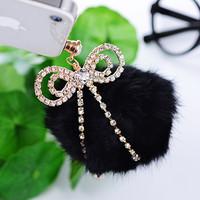 2014 New Anti Dust Plug Dachshund Hot-selling Rabbit Fur Large Sphere Full Rhinestone Bow Mobile Phone Dust Plug Earphones Hole