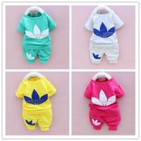 New 2014 brand Summer  kids clothing set children t shirt+ pants 2 pcs  boys girls clothing sets