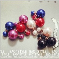 2014 Trendy Limited Brinco Earrings For Women Wholesale And Sales Kpop Luxury Double Faced Pearl Stud Earring Statement Jewelry