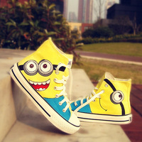 2014 cartoon anime figure despicable me 2 minion shoes Couples hand painted shoe women and men casul canvas sneakers
