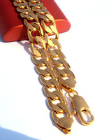 "Classic Men's ITALY Curb 18k yellow  gold real GF chain necklace 23.6"" SALE  Front 100pcs loss.Fast"