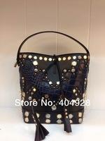 2014 rivet bag  new purse  fashion women design original cow leather  handbag top quality wholesale