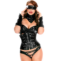 Black leather multiple cummerbund set bandage zipper slim beauty care women's 9189 costumes