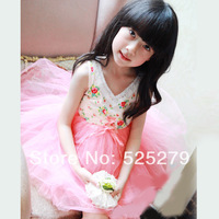 Retail-2014 New Fashion Brand Children's clothing summer high-quality 100% cotton lace baby girl's dress pink