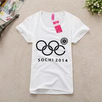 Free shipping 2014 Fashion Casual Good Quality Women's Cotton T Shirt Short Sleeve Print Tops&Tees Summer T-shirt Women 48 Color