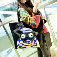 2014 women's handbag cartoon doodle owl bags shoulder bag handbag large bag